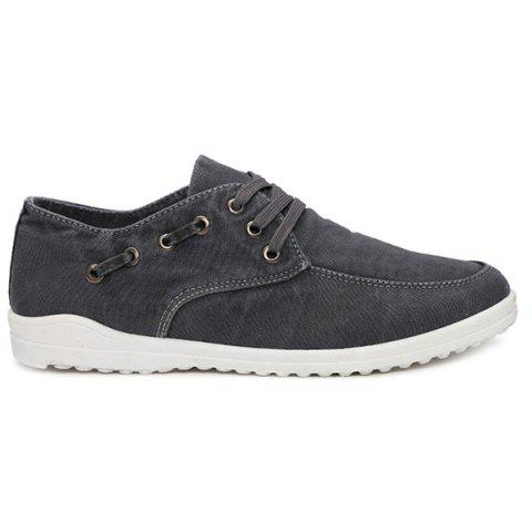 Eyelets Lace Up Dark Color Canvas Shoes - DEEP GRAY 44