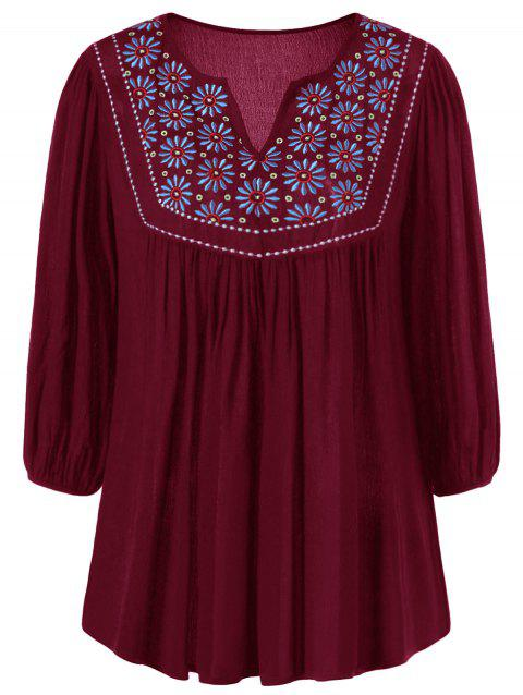 Floral Embroidered Maxican Peasant Blouse - WINE RED S