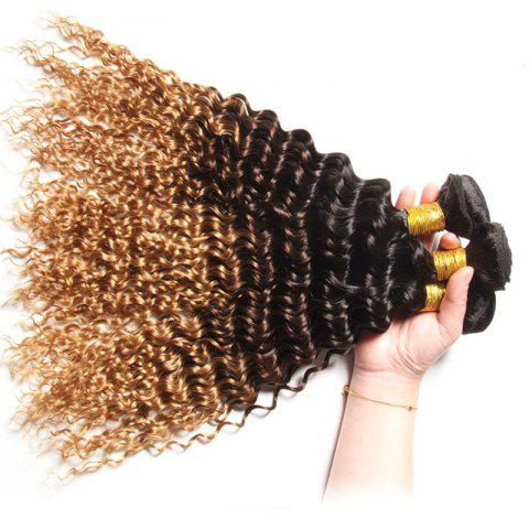 1 PCS Multi Color 6A Virgin Curly profondes brésiliennes Tissages Cheveux - multicolore 14INCH