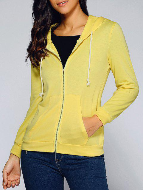 Drawstring Hooded Front Pocket Hoodie - YELLOW M