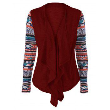 Geometric Pattern Irregular Front Fly Cardigan - WINE RED WINE RED