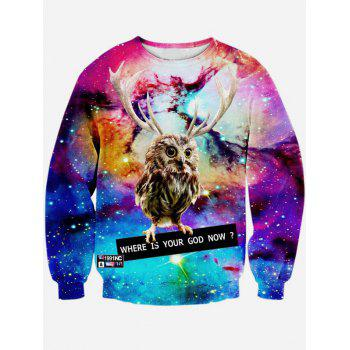 Long Sleeve 3D Print Round Neck Galaxy Sweatshirt