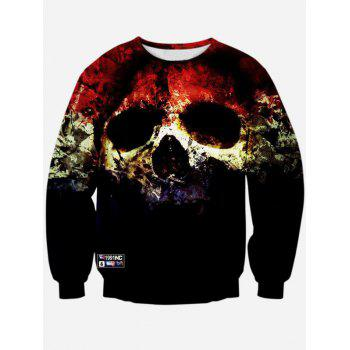 3D Horrific Skull Print Crew Neck Sweatshirt