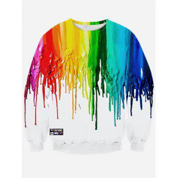 Long Sleeve Colorful Paint Dripping Print Sweatshirt