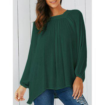 Lantern Sleeve Smock Blouse - BLACKISH GREEN S