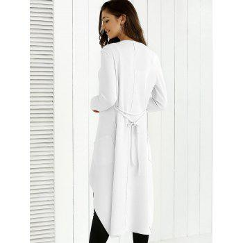 Tie Back Asymmetrical Trench Coat - WHITE WHITE