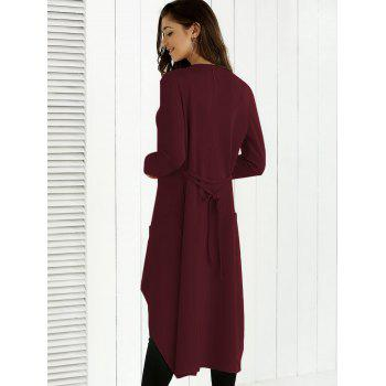 Tie Back Asymmetrical Trench Coat - WINE RED WINE RED