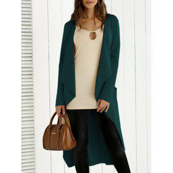 Tie Back Asymmetrical Trench Coat - BLACKISH GREEN BLACKISH GREEN
