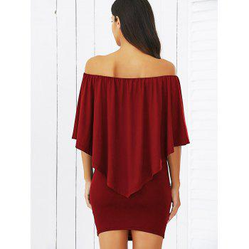 Off-The-Shoulder Bodycon Overlay Dress - S S
