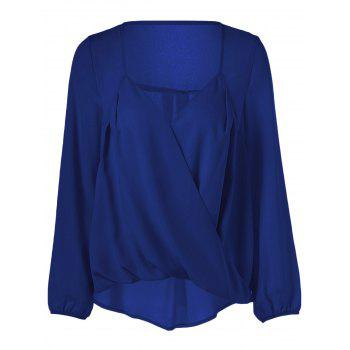 Surplice High Low Hem Chiffon Blouse - DEEP BLUE DEEP BLUE
