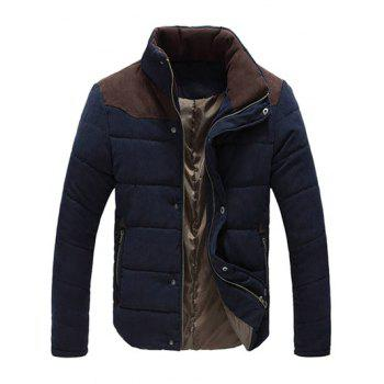 Color Block Zipper Snap Button Stand Collar Men's Padded Coat