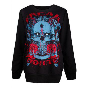 Halloween Loose Skull 3D Print Sweatshirt - BLACK M