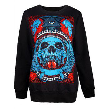 Halloween Skull and Eye Print Sweatshirt - BLACK L