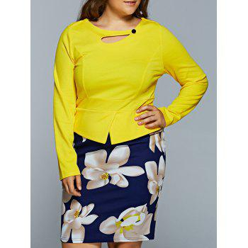 Faux Two-Piece Floral Print Hollow Out Dress - YELLOW XL
