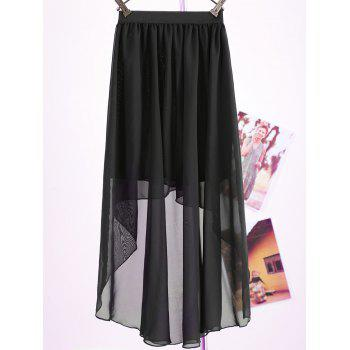 Women's Chiffon Pleated Retro Asymmetrical Swallow Tail Short Elastic Waist Skirt - ONE SIZE ONE SIZE