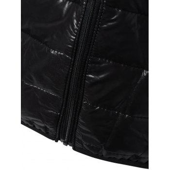 Topstitching Hooded Quilted Winter Jacket - BLACK BLACK