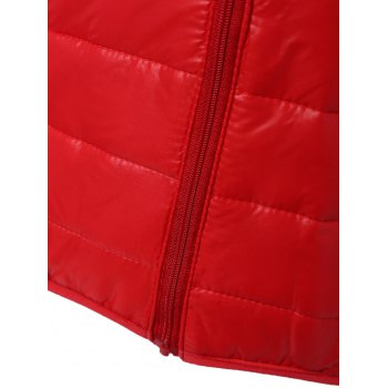 Topstitching Hooded Quilted Winter Jacket - RED RED