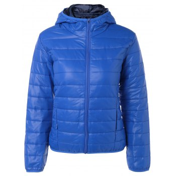 Topstitching Hooded Quilted Winter Jacket - BLUE BLUE