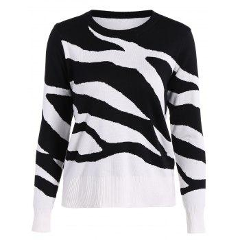 Two Toned Ribbed Hem Knitted Pullover - WHITE AND BLACK WHITE/BLACK