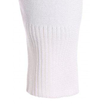 Two Toned Ribbed Hem Knitted Pullover - M M