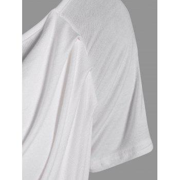 Ruched Plain Ruffled T-Shirt - WHITE WHITE