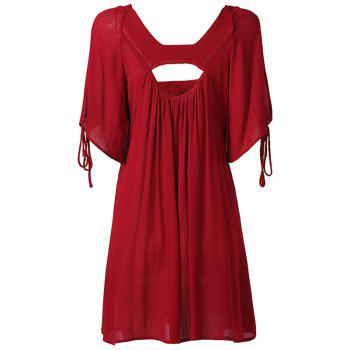 Hollow Out High Waist Tied-Up Chiffon Dress - WINE RED WINE RED