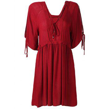 Hollow Out High Waist Tied-Up Chiffon Dress - WINE RED M