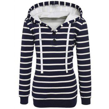 Long Sleeves Striped Buttoned Hoodie - BLACK BLACK