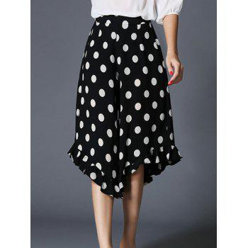 Polka Dot Print Asymmetric Pants