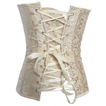 Jacquard Lace-Up Slimming Corset - L L