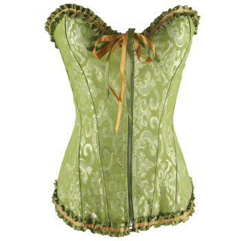 Zippered Lace-Up Waist Slimming Corset - GREEN GREEN