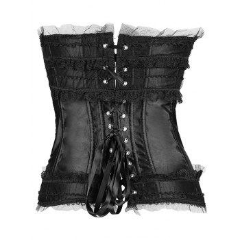Bowknot Lace-Up Waist Slimming Corset - BLACK BLACK