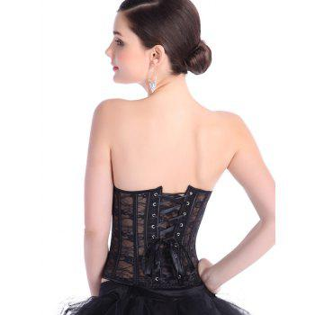 See-Through Lace-Up Waist Slimming Corset - BLACK BLACK