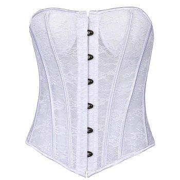 See-Through Lace-Up Waist Slimming Corset - WHITE WHITE