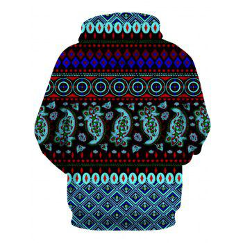 Hooded Long Sleeve 3D Ethnic Style Geometric Print Hoodie - COLORMIX 2XL