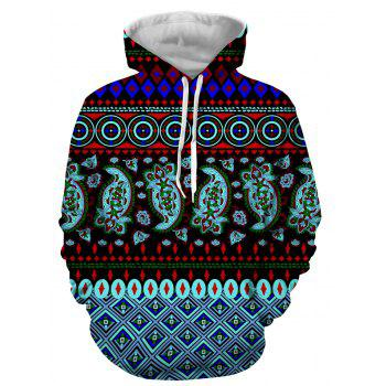 Hooded Long Sleeve 3D Ethnic Style Geometric Print Hoodie - COLORMIX XL