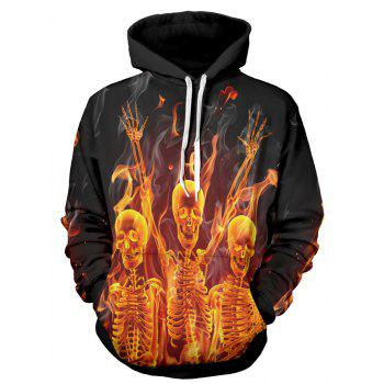 Capuche manches longues 3D Flame Skull Print Hoodie