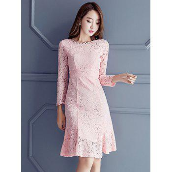 Hollow Out Knee Length Lace Dress