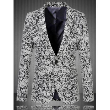 Notch Lapel Sleeve Button Design One-Button Blazer