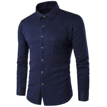 Fleece Lined Turn-down Collar Polka Dot Shirt