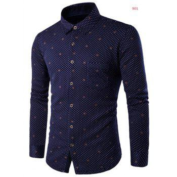 Polka Dot Print Turn-down Collar Fleece Lined Shirt