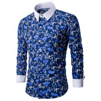 Floral Print Breast Pocket Button Up Shirt - BLUE BLUE