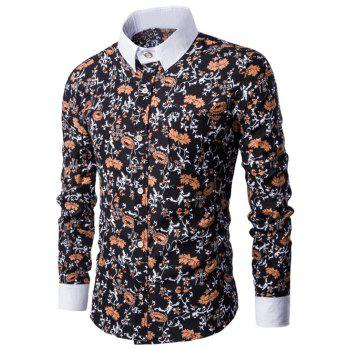 Floral Print Breast Pocket Button Up Shirt - BLACK BLACK