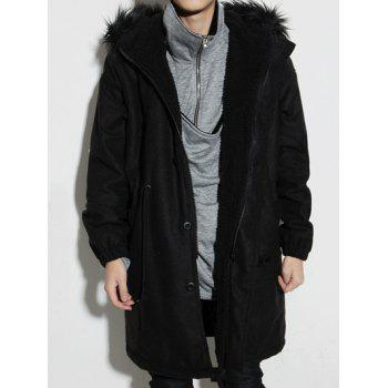 Elastic Cuffs Fur Hooded Drawstring Sherpa Coat