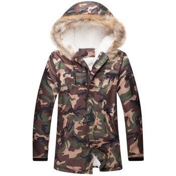 Drawstring Waist Camo Zippered Fur Hooded Sherpa Parkas