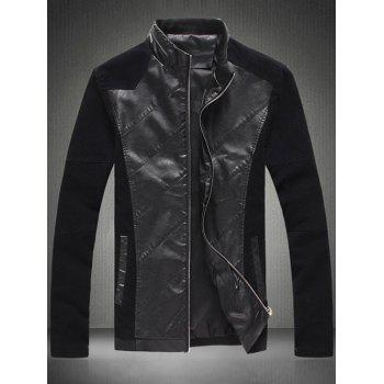Sleeve Buttons Design Zip Up Leather Insert Jacket