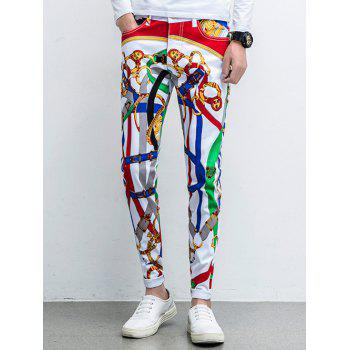 Printed Five-Pocket Zipper Fly Tapered Pants