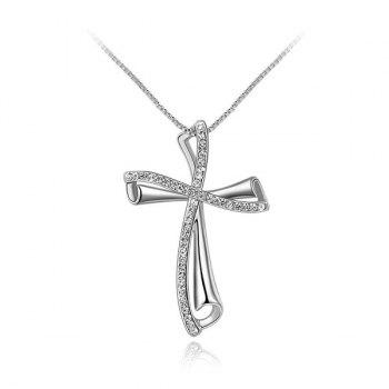 Fake Crystal Oblique Cross Pendant Necklace