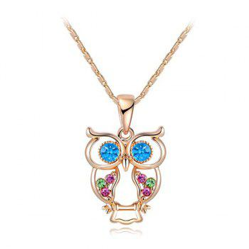Owl Artificial Crystal Pendant Necklace