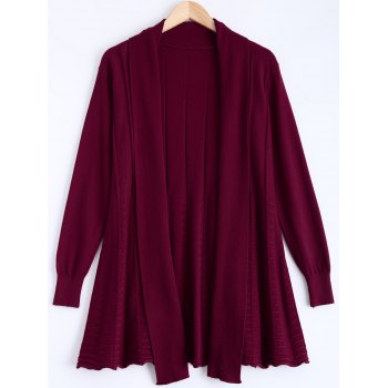Ribbed Ruched Loose-Fitting Cardigan